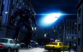Обои autobot, свет, Transformers, город, optimus prime, улица, пришелец, ночь, вертолет, робот