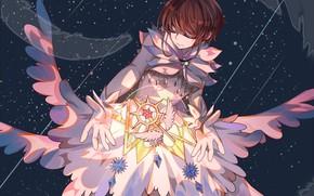 Картинка космос, крылья, ангел, перья, девочка, Card Captor Sakura, Сакура - собирательница карт