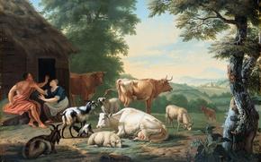 Картинка животные, масло, картина, Аркадский Пейзаж с Пастухами и Коровами, Ян ван Гул
