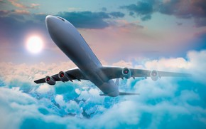 Картинка небо, солнце, облака, самолет, пассажирский
