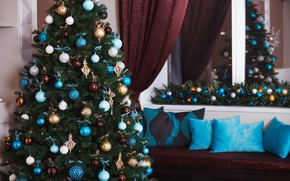 Картинка украшения, игрушки, елка, Новый Год, Рождество, подарки, white, Christmas, design, blue, Merry Christmas, Xmas, interior, …