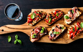 Картинка бокал, хлеб, овощи, красное вино, бутерброды, базилик, помидоры-черри