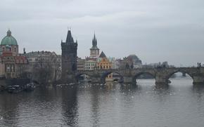 Картинка река, башня, Прага, Чехия, Влтава, Карлов мост