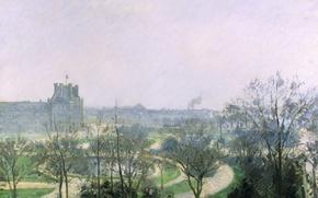 Картинка пейзаж, город, парк, картина, Камиль Писсарро, Сады Тюильри