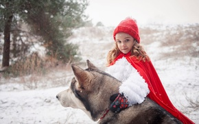 Картинка зима, лес, снег, сказка, собака, пес, мех, ошейник, плащ, хаски, Красная Шапочка, опушка, рукавицы, Серый …