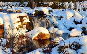 Картинка Зима, Водопад, Скалы, Снег, Камни, Winter, Snow, Waterfall