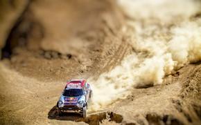 Картинка Mini, Пыль, Спорт, Пустыня, Скорость, Гонка, Сверху, Rally, Внедорожник, Ралли, RedBull, X-Raid Team, 315, MINI …
