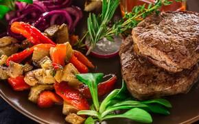 Картинка зелень, мясо, овощи