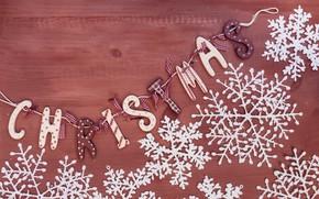 Картинка снежинки, фон, праздник, надпись