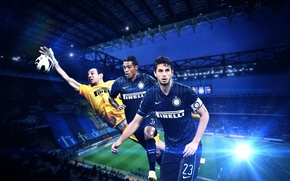 Картинка wallpaper, sport, stadium, football, San Siro, Inter Milan, players