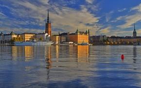 Картинка море, корабль, дома, Стокгольм, Швеция