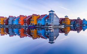 Картинка небо, вода, город, отражение, Нидерланды, Гронинген
