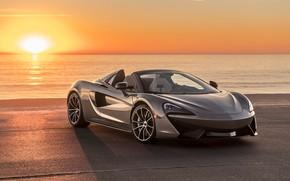 Обои закат, побережье, McLaren, суперкар, 2018, Spider, 570S