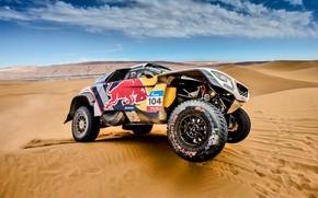Картинка Песок, Спорт, Скорость, Гонка, Грязь, Peugeot, Фары, Red Bull, Rally, Ралли, Sport, Дюна, DKR, 104, …
