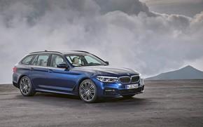 Картинка облака, пасмурно, BMW, площадка, универсал, xDrive, Touring, 530d, 5er, тёмно-синий, 2017, 5-series, G31