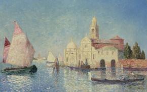 Картинка лодка, картина, парус, городской пейзаж, Вид Венеции, Ferdinand du Puigaudeau, Фердинанд дю Пюигадо