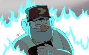 Картинка синий, огонь, мультик, шапка, рыба, дедушка, Gravity Falls, stan pines