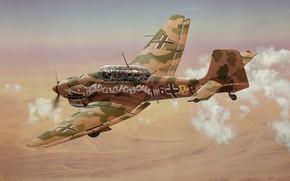 Обои Art, Stuka, Luftwaffe, пикирующий бомбардировщик, Junkers Ju-87R-2/trop