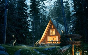 Обои лес, дом, олень, фонарь, Lost in the forest, Forest House Jour Nuit