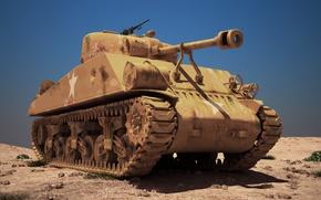 Обои средний, 3Ds, MAX, Sherman, M4A3, танк