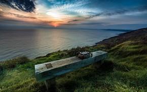 Обои море, скамья, берег, закат