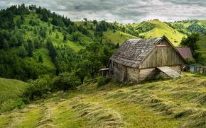 Картинка лето, дом, холмы
