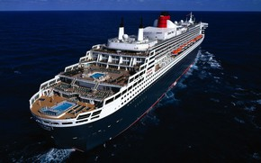 Картинка Океан, Море, Судно, Queen Mary 2, На ходу, Корма, ЛАйнер