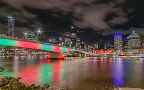 Обои река, ночь, Австралия, огни, Брисбен, мегаполис, мост, небоскребы
