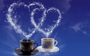 Картинка чай, сердце, кофе, пар, чашка, сердечко, День Святого Валентина