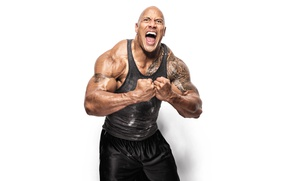 Обои actor, scream, tattoos, Dwayne johnson, musculation