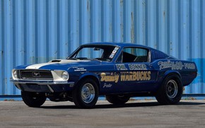 Картинка Ford Mustang, Blue, Fastback, 1968, Race car, Cobra Jet