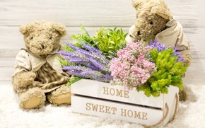 Обои любовь, цветы, игрушка, букет, мишка, пара, love, bear, wood, flowers, romantic, couple, sweet, teddy, home