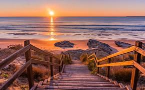Картинка горизонт, лестница, закат солнца, морской берег