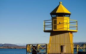 Картинка море, горы, маяк, Исландия, Рейкьявик