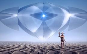 Картинка девушка, свет, пейзаж, пространство, будущее, рендеринг, фантастика, пустыня, человек, НЛО, горизонт, арт, киборг, материал, космическая, ...