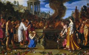 Картинка дерево, масло, картина, мифология, Питер Ластман, Ореста и Пилада Ведут к Жертвенному Алтарю