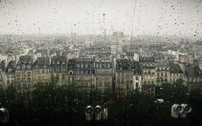 Картинка капли, город, дождь, окно