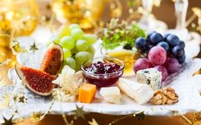 Картинка сыр, орех, виноград, джем, ассорти, инжир