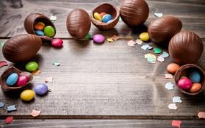 Картинка шоколад, яйца, colorful, конфеты, Пасха, wood, chocolate, spring, Easter, eggs, candy, decoration, Happy