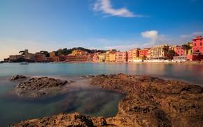 Картинка море, побережье, здания, дома, Италия, Italy, Лигурийское море, гавань, Лигурия, Liguria, Ligurian Sea, Сестри-Леванте, Sestri …