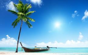 Обои песок, море, пляж, солнце, пальмы, берег, лодка, summer, beach, sea, island, sand, paradise, palms, tropical