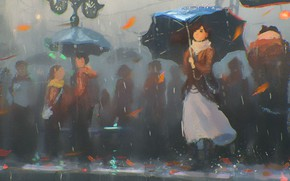 Картинка девушка, дождь, улица, зонт, арт