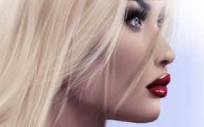 Картинка глаза, девушка, лицо, рендеринг, фон, помада, губы
