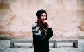 Картинка девушка, шапка, портрет, ines estelle