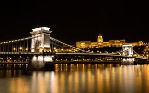 Картинка ночь, мост, Венгрия, Будапешт