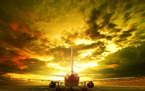 Картинка небо, облака, пейзаж, самолет, вечер, зарево, взлетная полоса, пассажирский