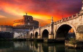 Картинка пейзаж, закат, мост, город, Рим, Италия, Ватикан, Sant`Angelo