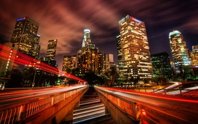 Картинка мост, город, небоскребы, ночной город, иллюминация, трейсер, Современный