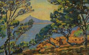 Картинка море, пейзаж, горы, картина, Арман Гийомен, Armand Guillaumin, The Bay of Agay and the Semaphore
