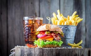 Картинка еда, гамбургер, Coca Cola, картошка фри